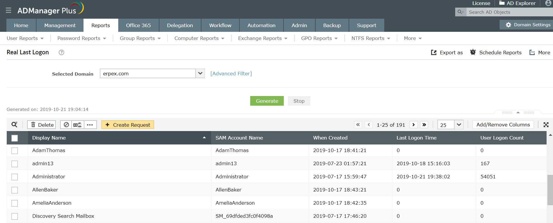 Active Directory Reports