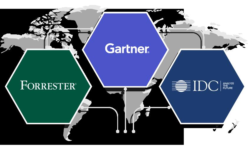 W 2019 roku uznany przez Gartner Magic Quadrant, Forrester Wave i IDC MarketScape.